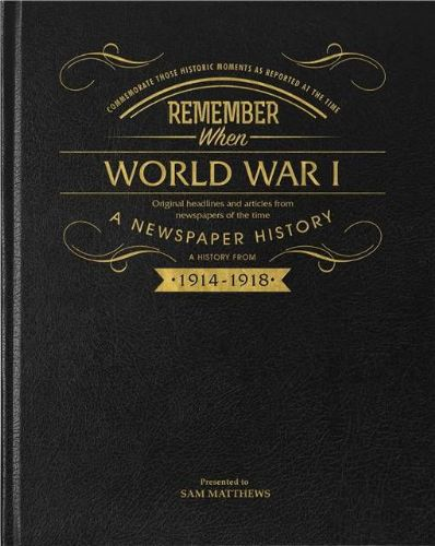Personalised WW1 Centenary Pictorial Edition Newspaper Book with gift box